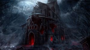 Preview wallpaper building, castle, collapsed, night, art