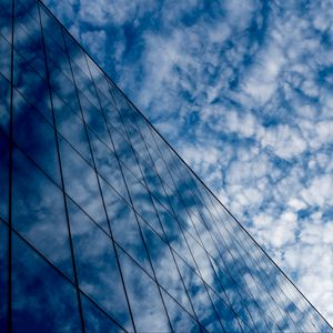Preview wallpaper building, clouds, reflection, glass, architecture