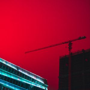 Preview wallpaper building, construction, crane, architecture, city sky, red