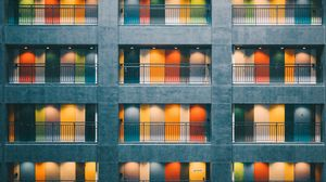 Preview wallpaper building, doors, architecture, minimalism, colorful