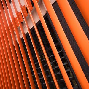 Preview wallpaper building, facade, architecture, stripes, orange