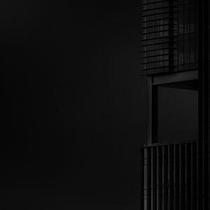 Preview wallpaper building, minimalism, bw, black, dark, architecture