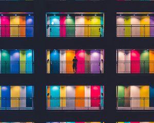 Preview wallpaper building, multicolored, doors, balconies, silhouette