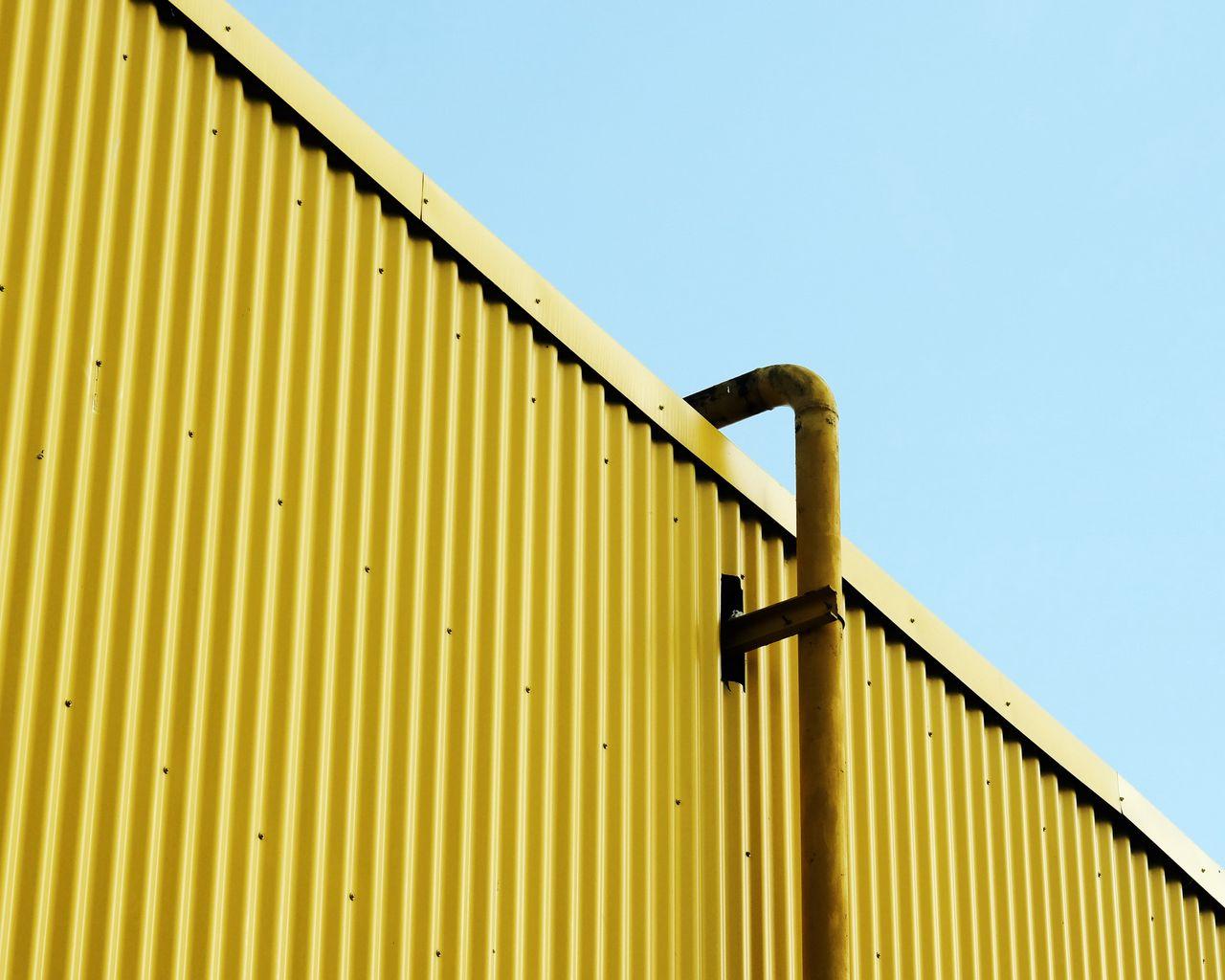 1280x1024 Wallpaper building, pipe, yellow, minimalism