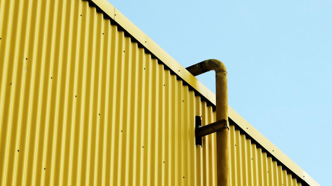 1366x768 Wallpaper building, pipe, yellow, minimalism