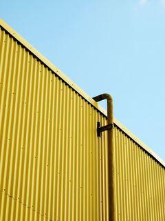 240x320 Wallpaper building, pipe, yellow, minimalism