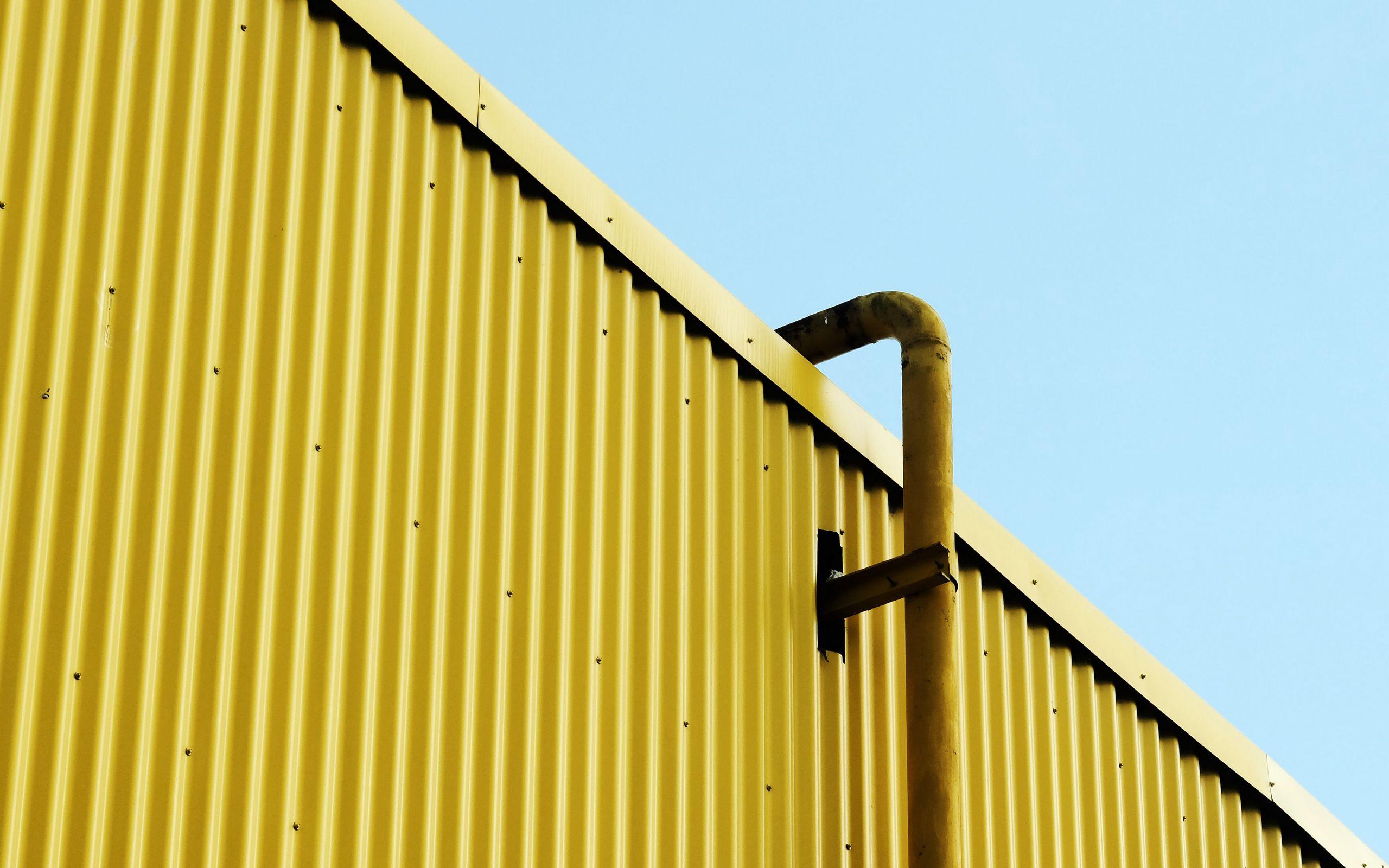 2560x1600 Wallpaper building, pipe, yellow, minimalism