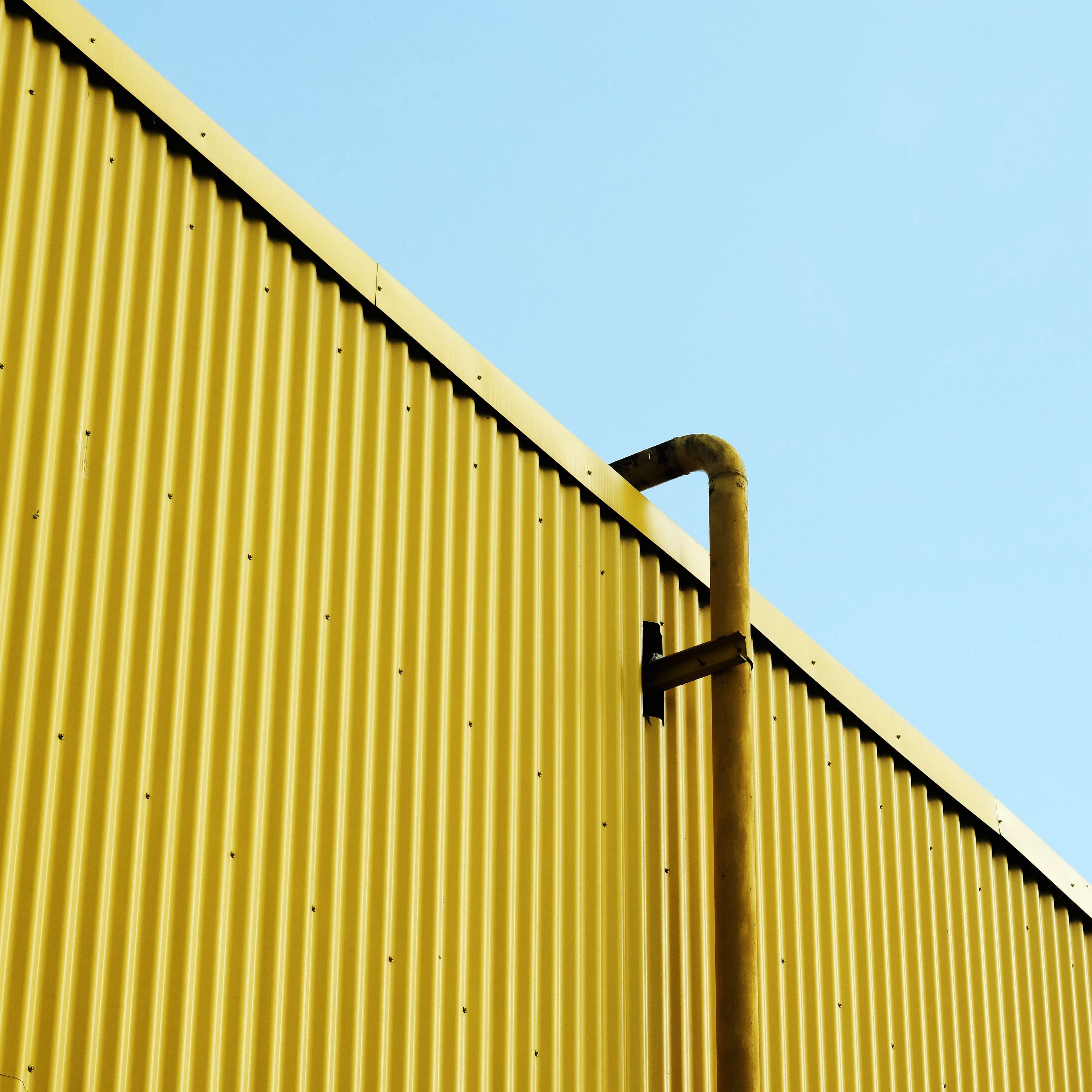 3415x3415 Wallpaper building, pipe, yellow, minimalism