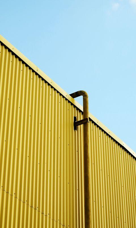 480x800 Wallpaper building, pipe, yellow, minimalism