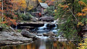 Preview wallpaper building, river, flow, trees