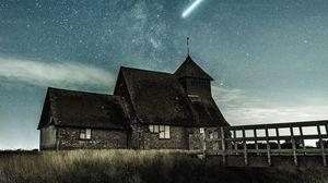 Preview wallpaper building, starry sky, meteorite, bridge, grass, night