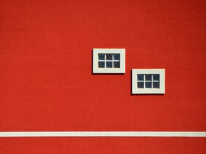 Preview wallpaper building, windows, red, minimalism