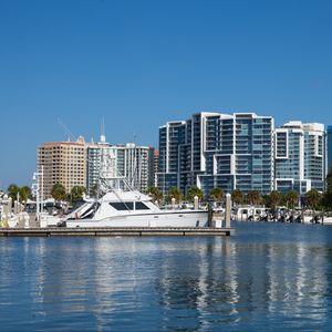 Preview wallpaper buildings, boat, pier, water, sea