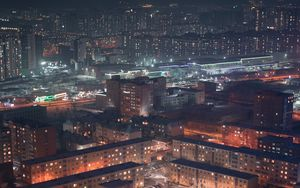 Preview wallpaper buildings, city, aerial view, night, snow