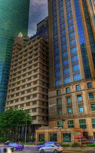 Preview wallpaper buildings, city, metropolis, street, traffic, hdr