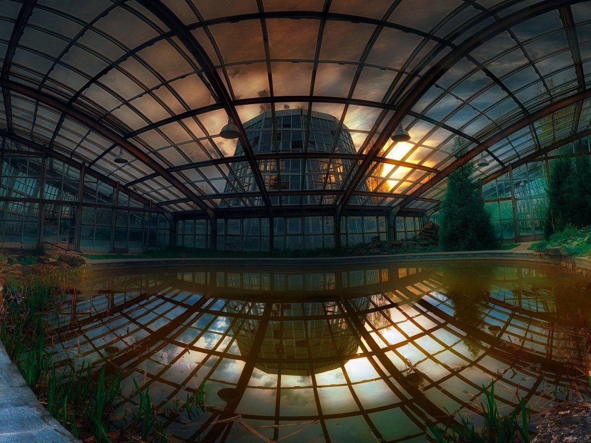 1152x864 Wallpaper buildings, glass, light, reflection