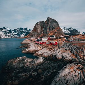 Preview wallpaper buildings, mountains, rest, travel, rocks, lofoten islands, svolvaer, norway