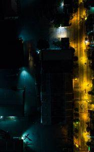 Preview wallpaper buildings, road, backlight, night, dark, aerial view