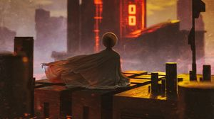 Preview wallpaper buildings, roof, sunset, cloak, alone, meditation