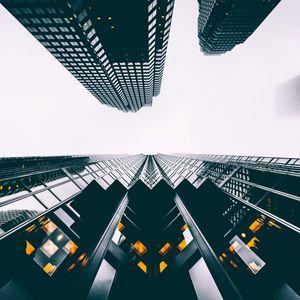 Preview wallpaper buildings, skyscrapers, view from below, sky
