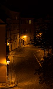 Preview wallpaper buildings, street, lights, lighting, dark