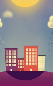 Preview wallpaper buildings, vector, rain, clouds, smiles, notes