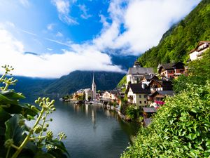 Preview wallpaper buildings, village, lake, mountains, landscape