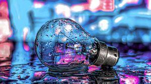 Preview wallpaper bulb, drops, neon, water