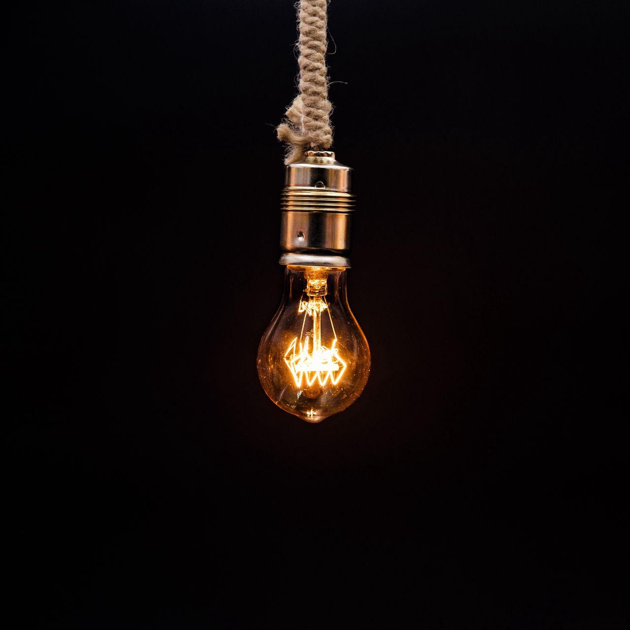 1280x1280 Wallpaper bulb, lighting, rope, electricity, edisons lamp
