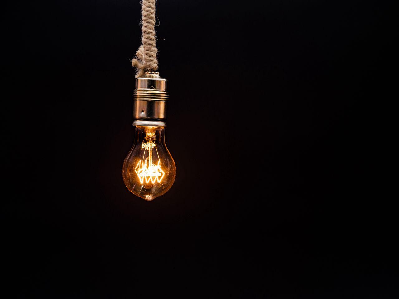 1280x960 Wallpaper bulb, lighting, rope, electricity, edisons lamp