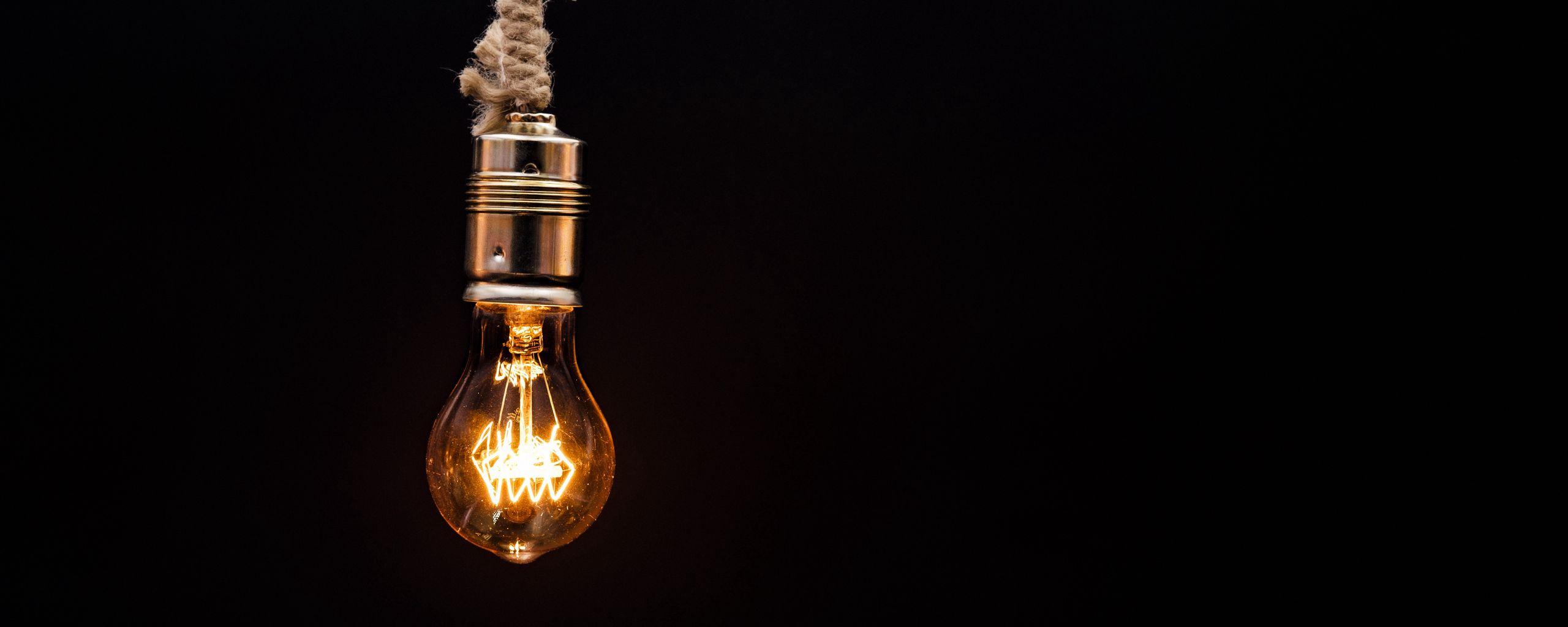 2560x1024 Wallpaper bulb, lighting, rope, electricity, edisons lamp