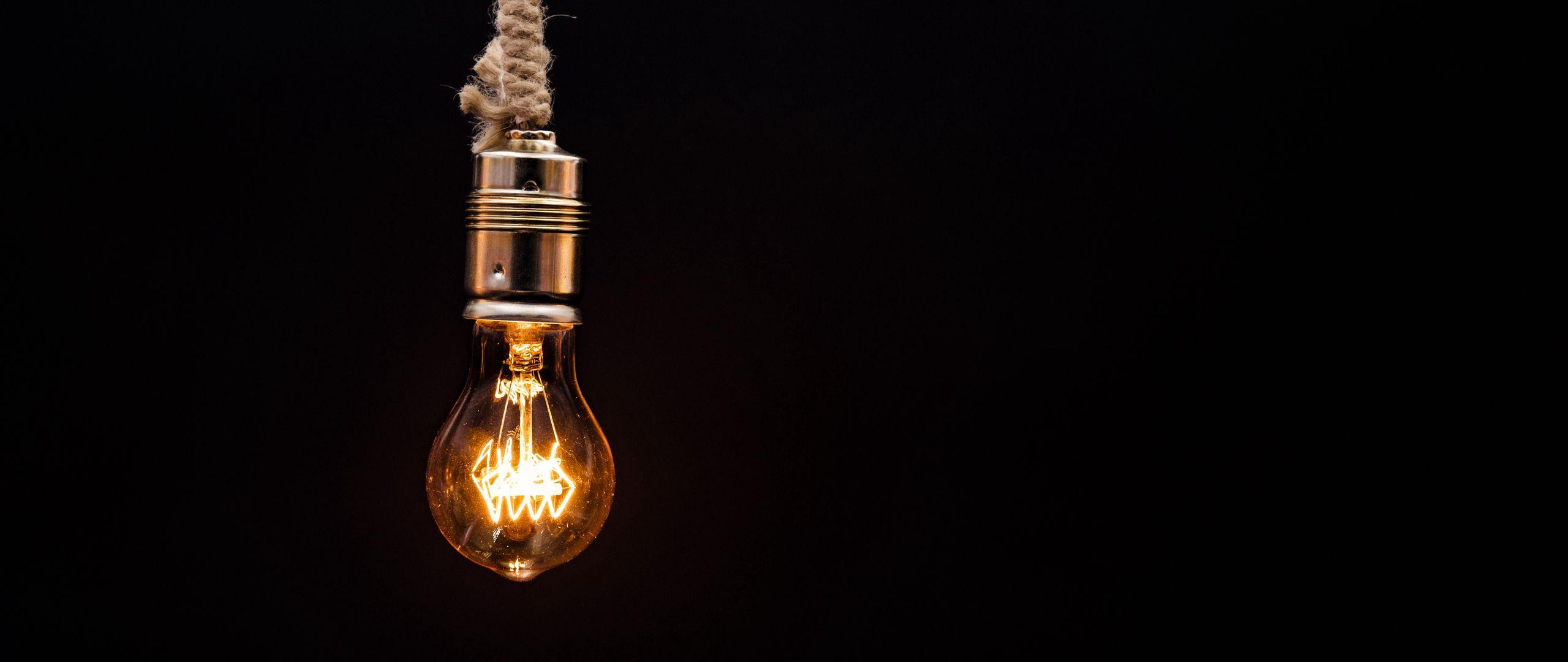2560x1080 Wallpaper bulb, lighting, rope, electricity, edisons lamp