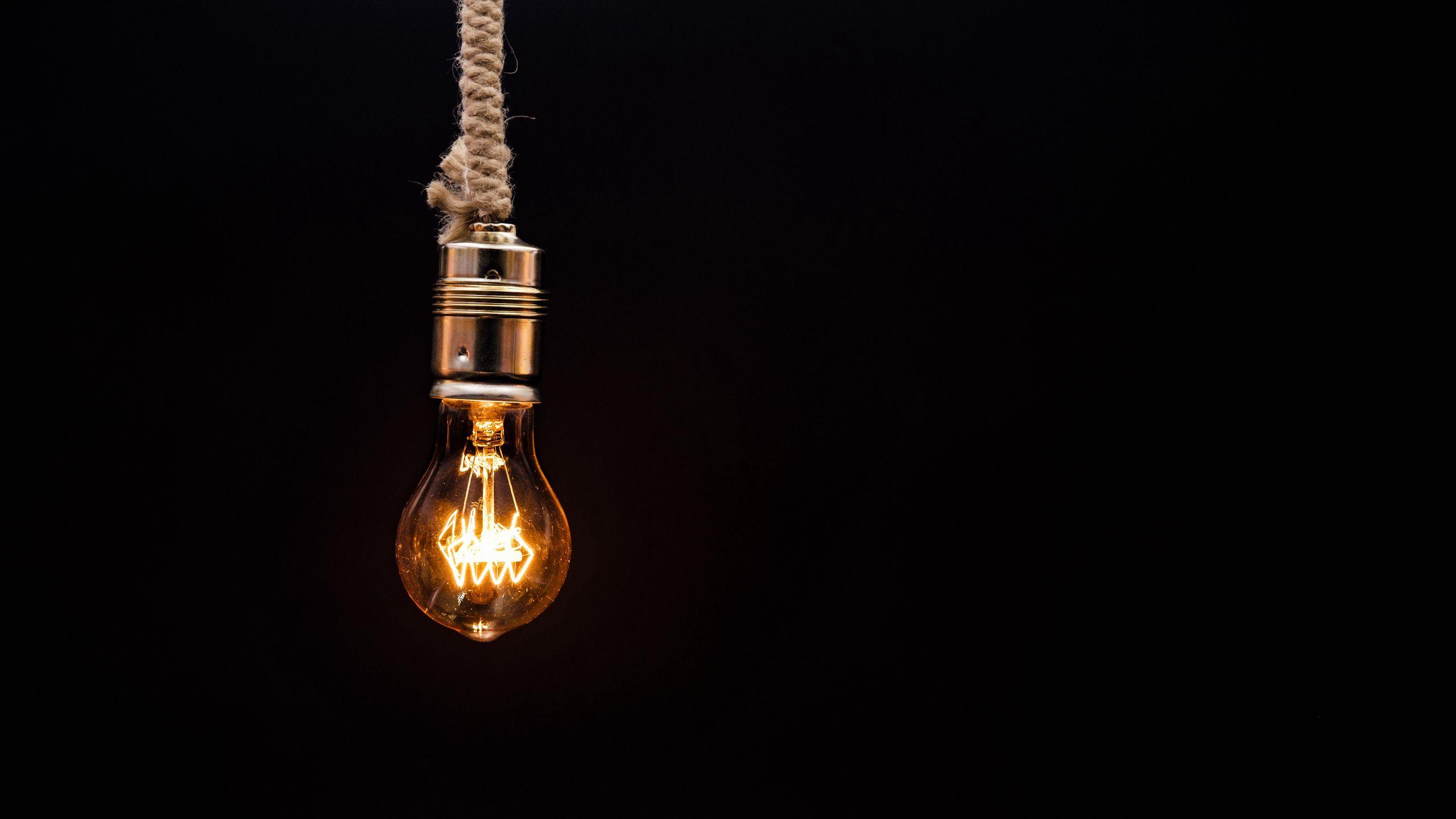 2560x1440 Wallpaper bulb, lighting, rope, electricity, edisons lamp