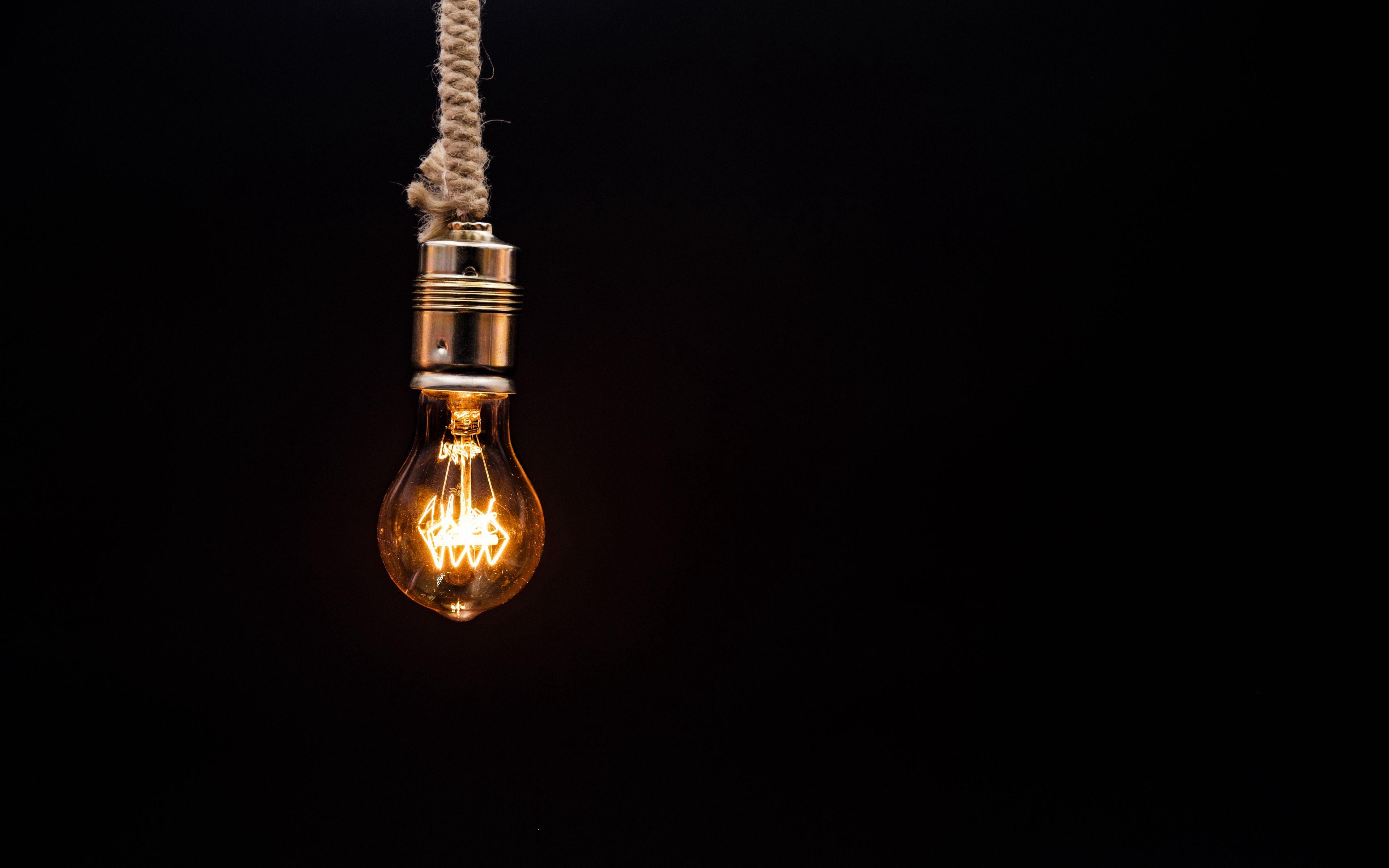 3840x2400 Wallpaper bulb, lighting, rope, electricity, edisons lamp
