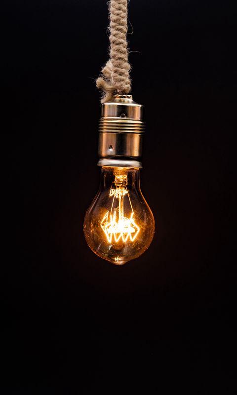 480x800 Wallpaper bulb, lighting, rope, electricity, edisons lamp