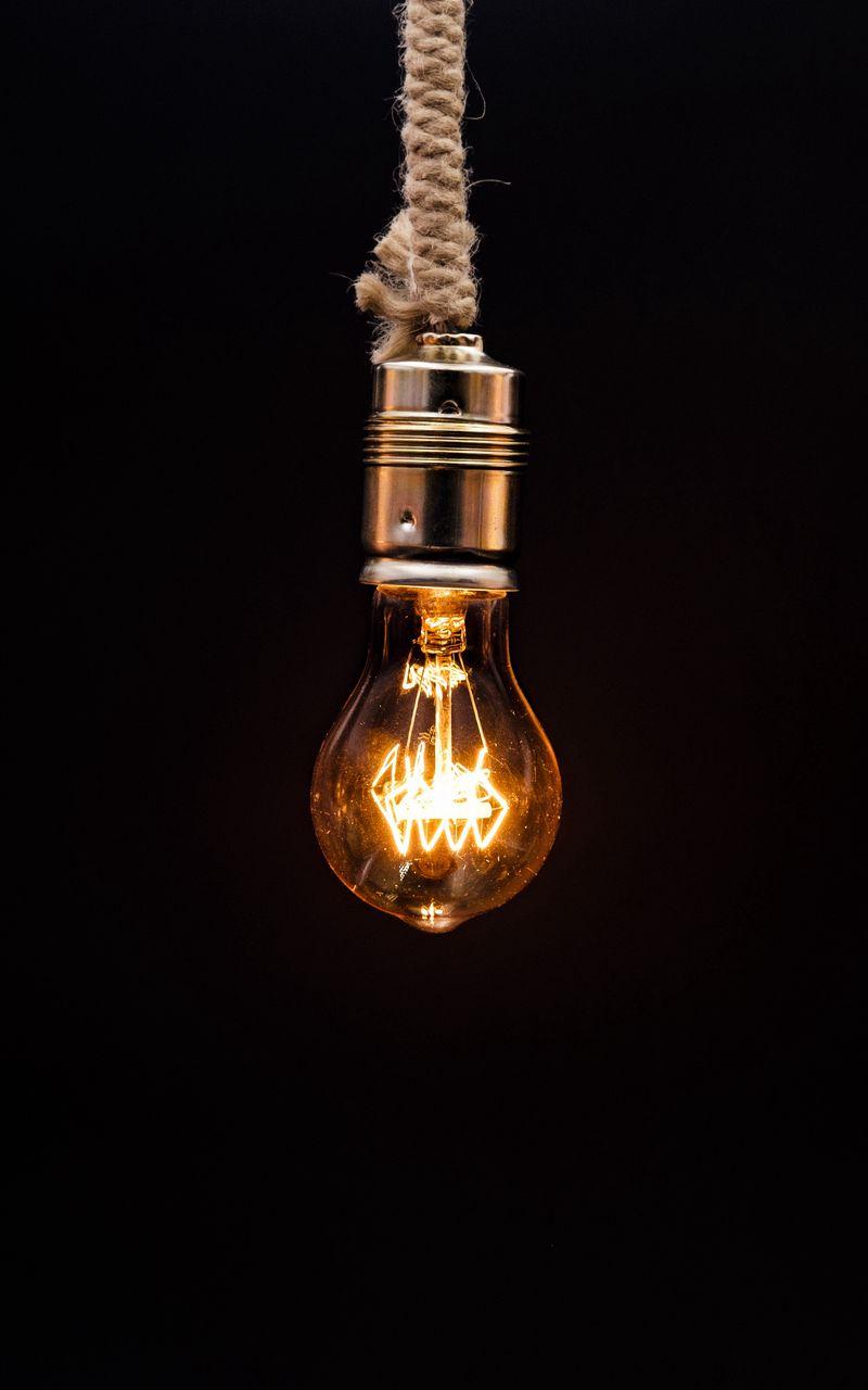 800x1280 Wallpaper bulb, lighting, rope, electricity, edisons lamp