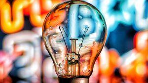 Preview wallpaper bulb, reflection, blur, multicolored
