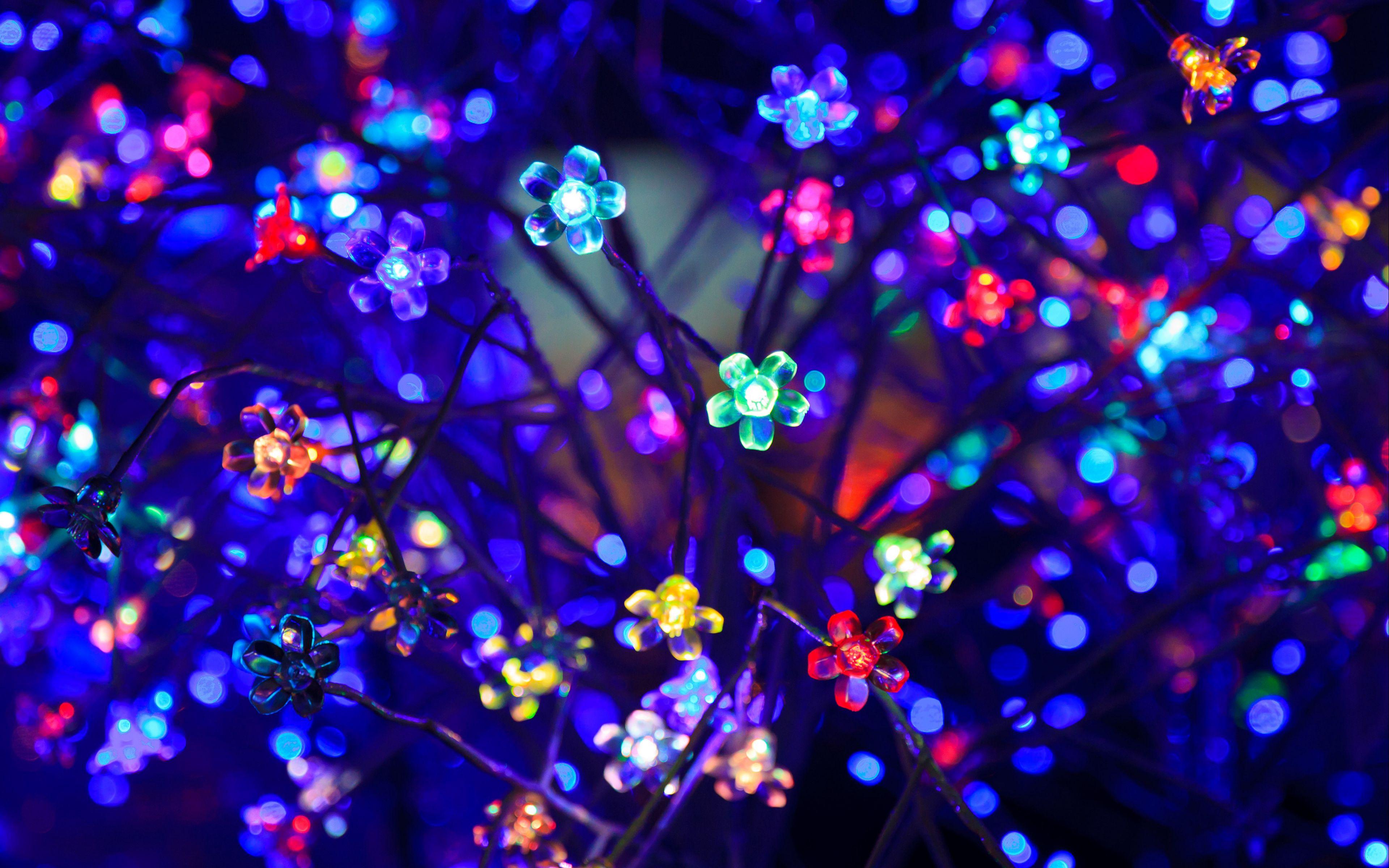 3840x2400 Wallpaper bulbs, flowers, neon, light, lighting, glare, bokeh, colorful