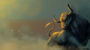 Preview wallpaper bull, dust, animal, art