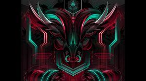 Preview wallpaper bull, neon, scheme, art
