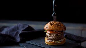 Preview wallpaper burger, hamburger, buns, meat, knife