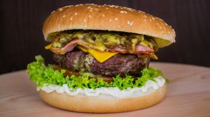 Preview wallpaper burger, hamburger, buns, vegetables