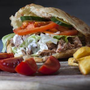 Preview wallpaper burger, vegetables, potatoes