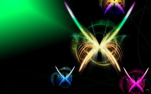 Preview wallpaper butterfly, colorful, rainbow, flying, light, shadow