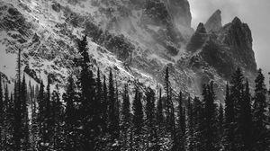 Preview wallpaper bw, mountains, rocks, snow