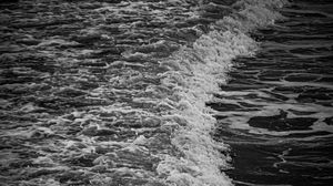 Preview wallpaper bw, wave, coast, tide