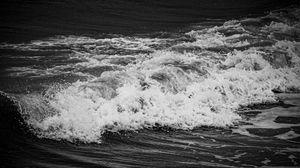 Preview wallpaper bw, waves, foam, tide