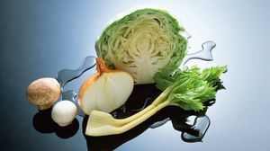 Preview wallpaper cabbage, onion, food, vegetables
