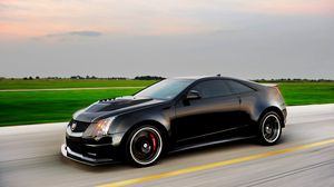 Preview wallpaper cadillac, cts-v, hennessey, black, side view