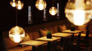 Preview wallpaper cafe, creative, tables, lights, chairs, sofas, comfort